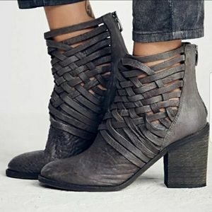 Free People CARRERA strap Woven Black Leather Boot